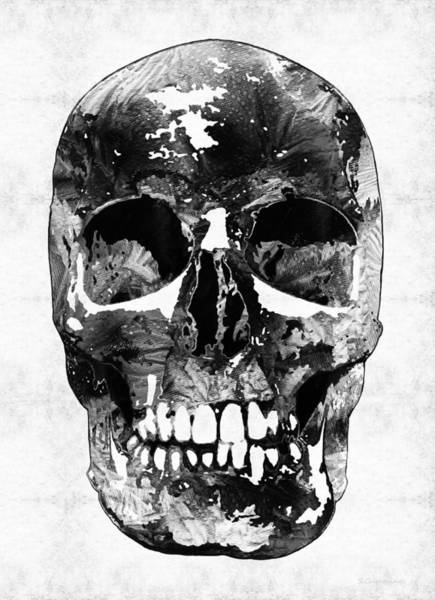 Wall Art - Painting - Black And White Skull By Sharon Cummings by Sharon Cummings