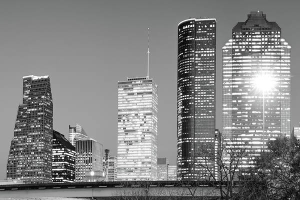Photograph - Black And White Skyline Of Houston  by Gregory Ballos