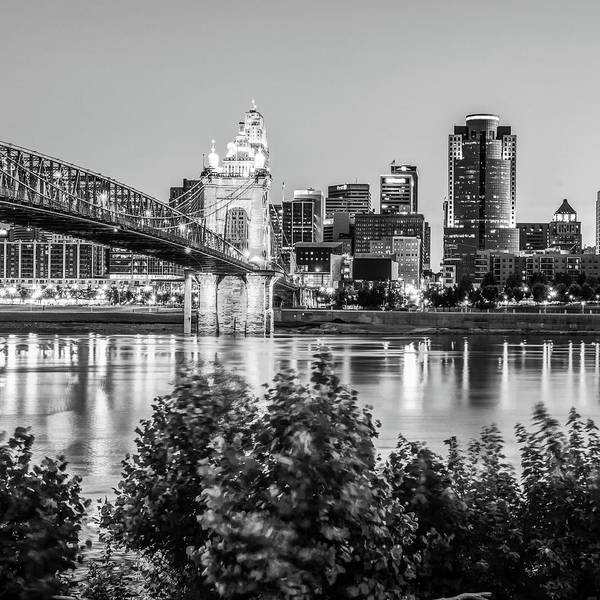 Photograph - Black And White Square Art Of The Cincinnati Skyline by Gregory Ballos