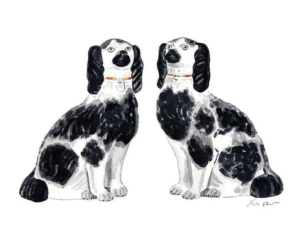 Wall Art - Painting - Black And White Staffordshire Dogs Art Spaniel Art Print Porcelain Chinoiserie Art by Laura Row
