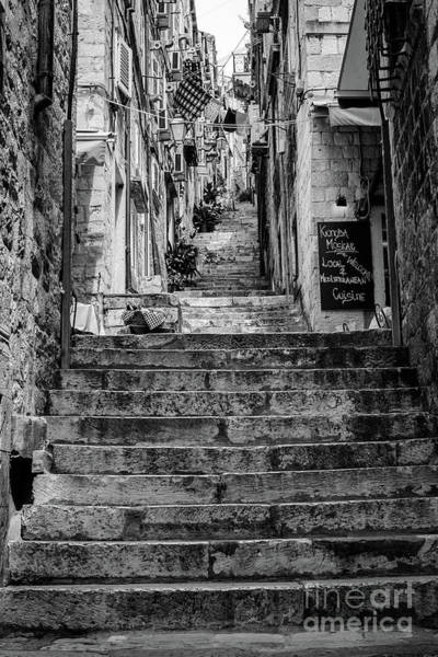 Photograph - Black And White Stairs In Dubrovnik, Croatia by Global Light Photography - Nicole Leffer