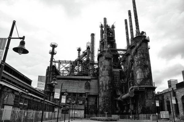 Photograph - Black And White Steel Stacks - Bethlehem Pa by Bill Cannon