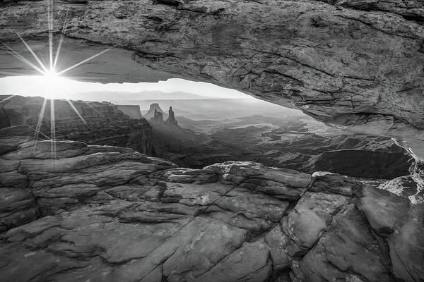 Black And White Sunburst Mesa Arch Mountain Landscape Art Print