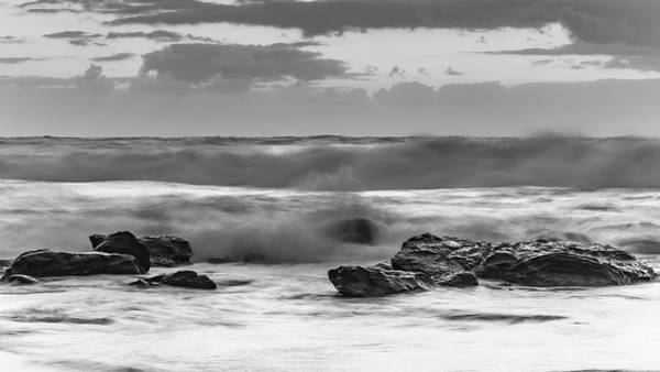 Killcare Photograph - Black And White Sunrise Seascape With Big Surf by Merrillie Redden