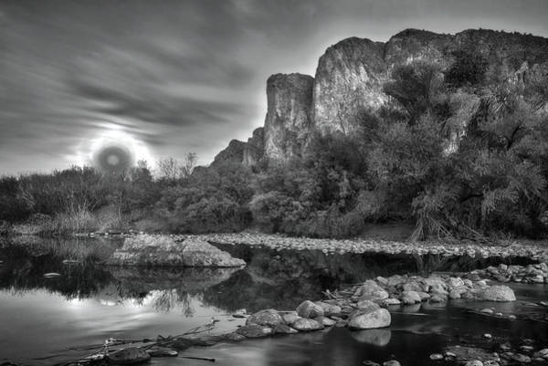 Wall Art - Photograph - Black And White Super Moon Rise Over The Salt River Arizona by Dave Dilli
