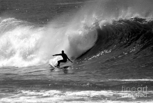 Waving Photograph - Black And White Surfer by Paul Topp