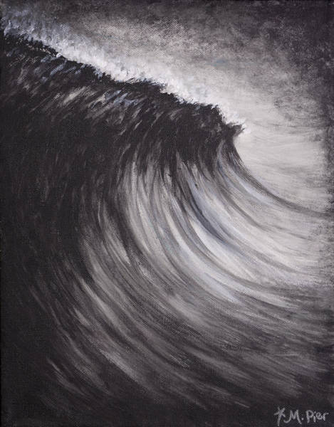 Painting - Black And White Wave Guam by Michelle Pier
