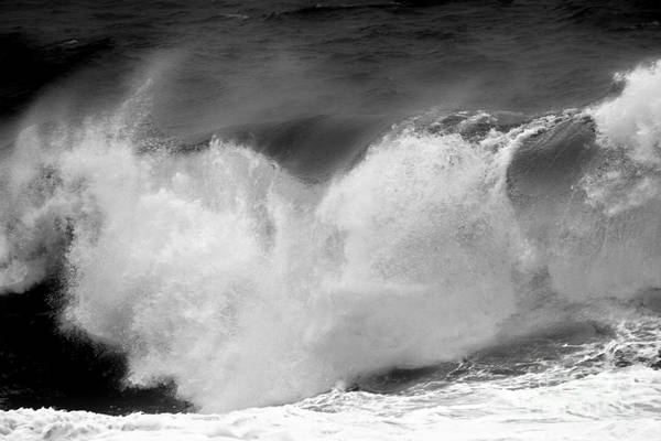 Photograph - Black And White Wave Rush by Adam Jewell