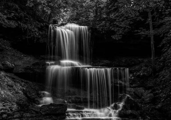 Photograph - Black And White West Milton Waterfall by Dan Sproul