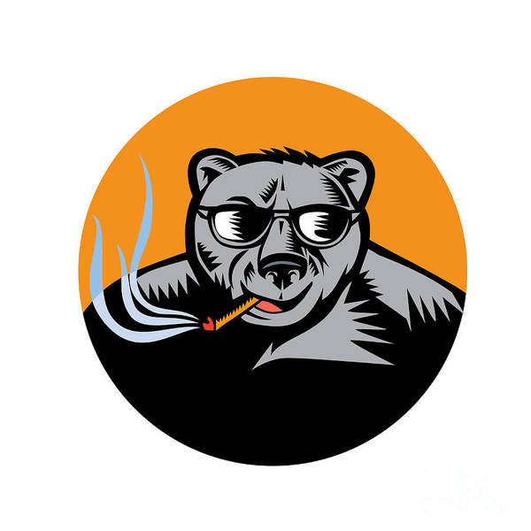 Grizzly Bears Digital Art - Black Bear Sunglasses Cigar Circle Woodcut by Aloysius Patrimonio