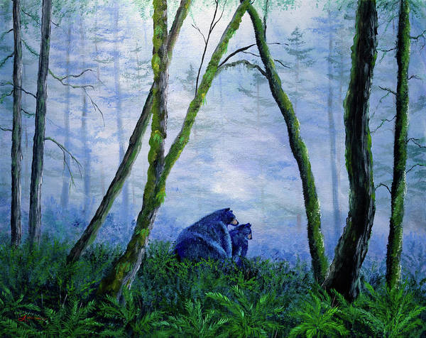 Oregon Wildlife Wall Art - Painting - Black Bears In The Mist by Laura Iverson