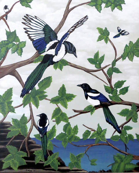 Painting - Black Billed Magpies by Teresa Wing