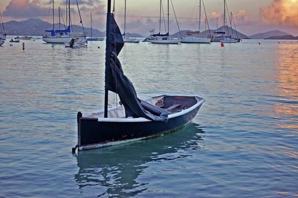 Digital Art - Black Boat And The Sunrise by Michael Thomas