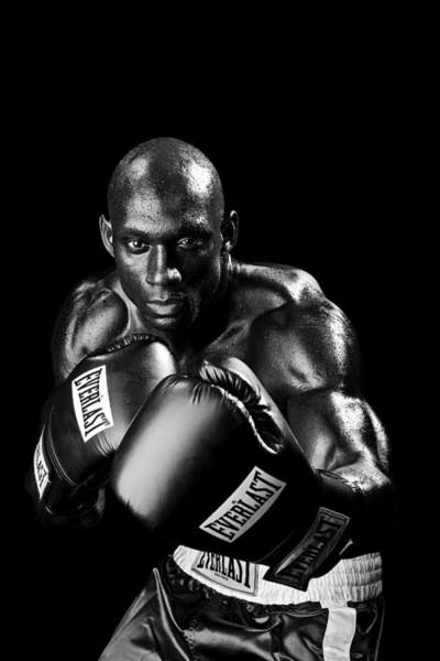Photograph - Black Boxer In Black And White 06 by Val Black Russian Tourchin