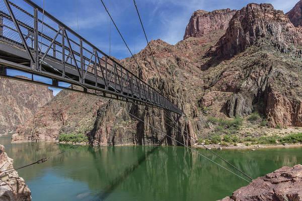 Black Bridge Over The Colorado River At Bottom Of Grand Canyon Art Print