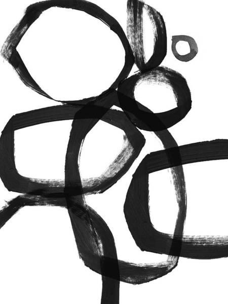 Wall Art - Painting -  Black Brushstroke Circles 2- Art By Linda Woods by Linda Woods