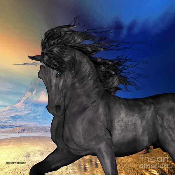 Black Buck Painting - Black Buck Unicorn by Corey Ford