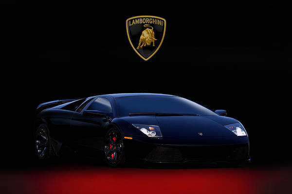 Supercars Digital Art - Black Bull V2 by Peter Chilelli