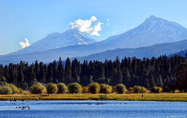 Three Sisters Wall Art - Photograph - Black Butte Ranch Lake - Bend, Oregon by John Melton