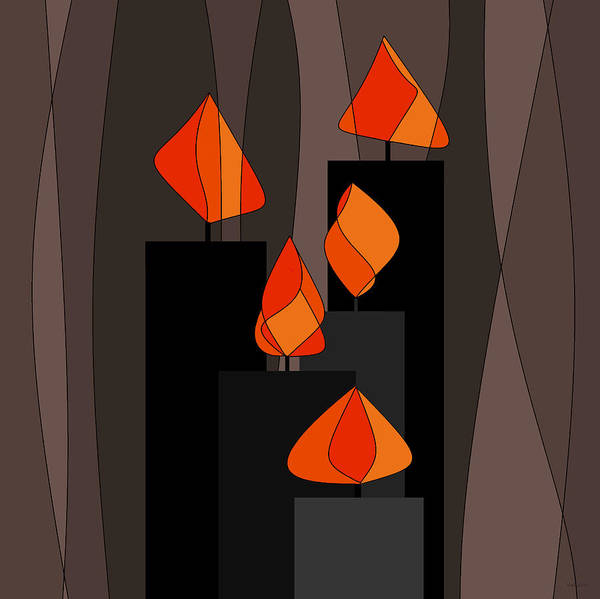 Digital Art - Black Candles by Val Arie