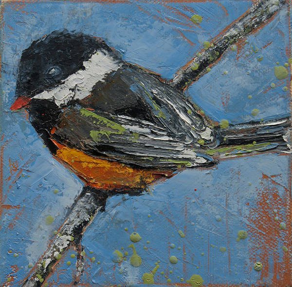 Painting - Black Capped Chickadee On Birch Branch by Jani Freimann