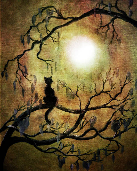 Moss Digital Art - Black Cat And Full Moon by Laura Iverson