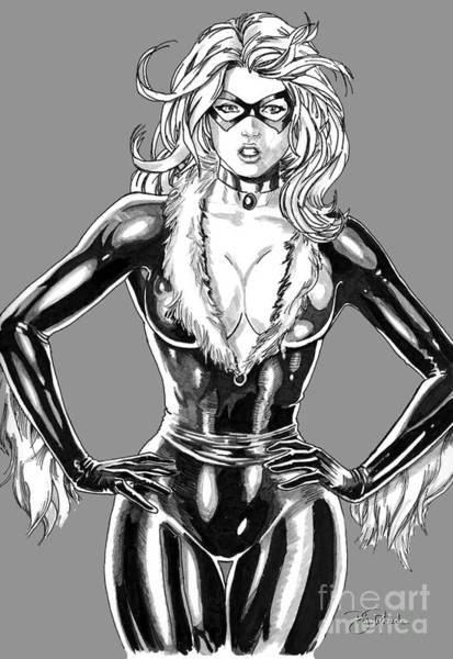 Drawing - Black Cat by Bill Richards