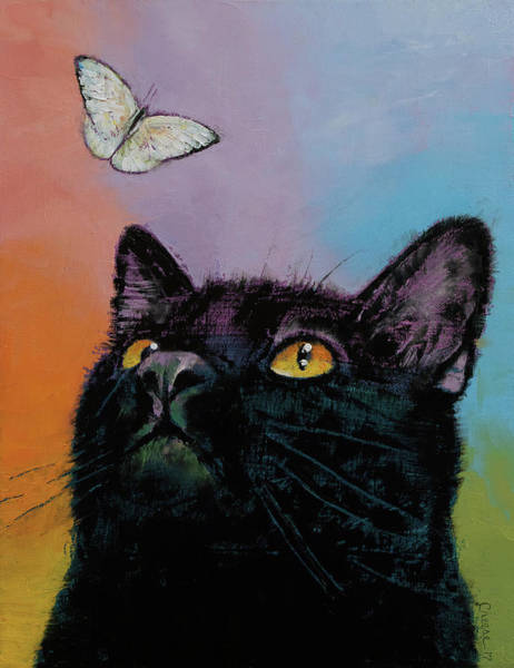 Wall Art - Painting - Black Cat Butterfly by Michael Creese