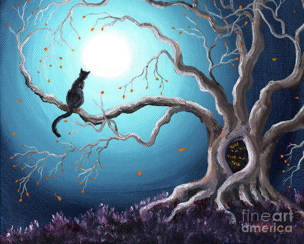 Outsider Art Painting - Black Cat In A Haunted Tree by Laura Iverson