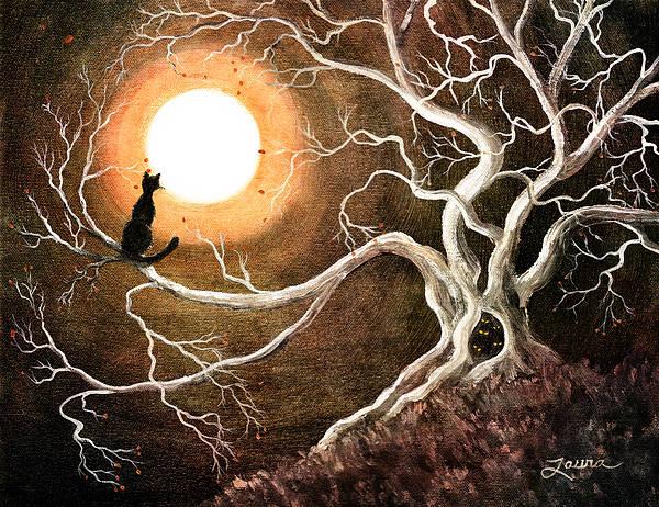 Oak Digital Art - Black Cat In A Spooky Old Tree by Laura Iverson