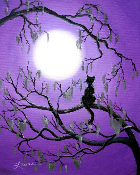 Black Cat Painting - Black Cat In Mossy Tree by Laura Iverson