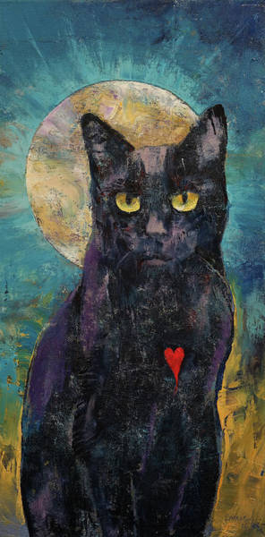 Full Moon Painting - Black Cat Lover by Michael Creese