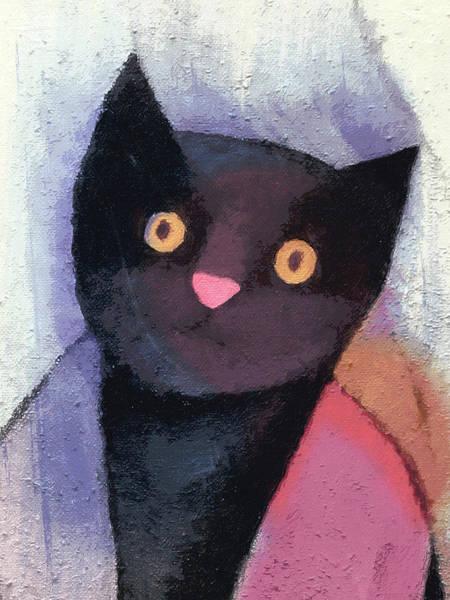Painting - Black Cat by Lutz Baar