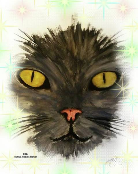 Prb Mixed Media - Black Cat by Pamula Reeves-Barker