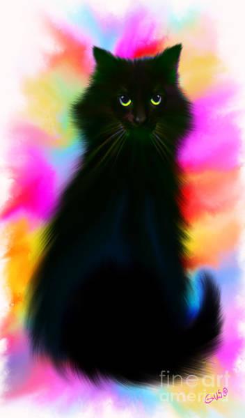 Wall Art - Painting - Black Cat Rainbow Sky by Nick Gustafson