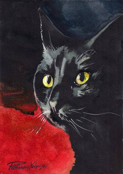Wall Art - Painting - Black Cat by Yuliya Podlinnova