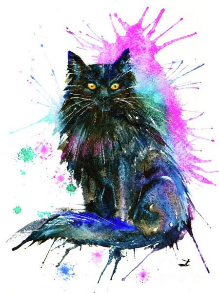 Wall Art - Painting - Black Cat by Zaira Dzhaubaeva