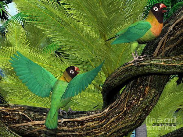 Vertebrate Painting - Black-cheeked Lovebirds by Corey Ford