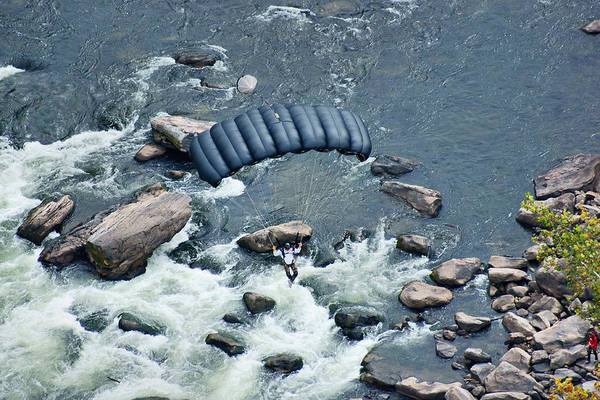 Base Jumping Photograph - Black Chute Over The New River by Robert  Suits Jr