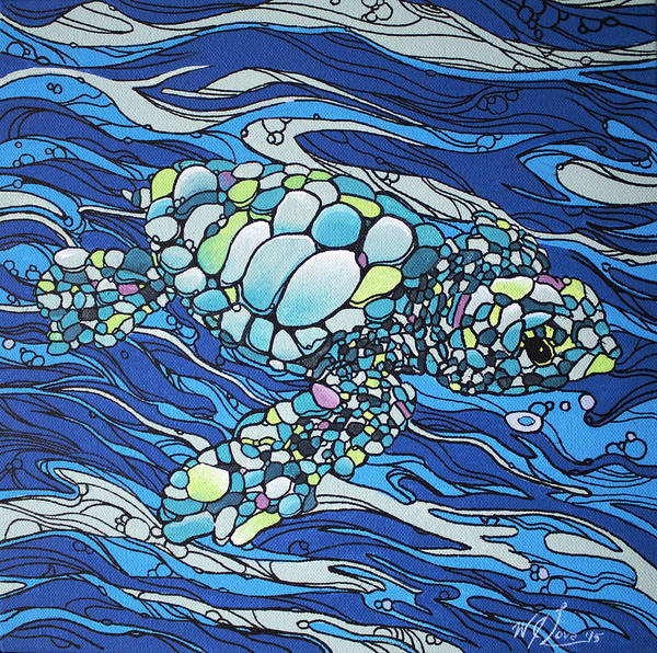 Painting - Black Contour Turtle by William Love