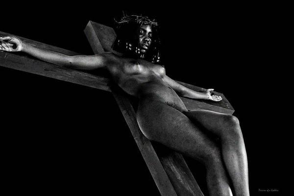 Black Crucified Woman In Dark I Art Print