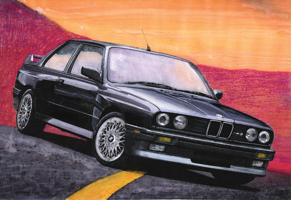 Bmw Painting - Black E30 Bmw M3 by Rod Seel