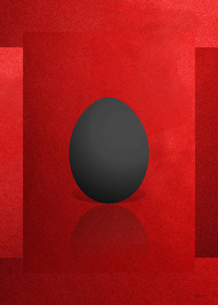 Digital Art - Black Egg On Red Canvas  by Serge Averbukh