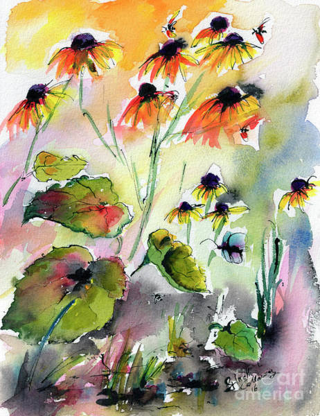Painting - Black Eyed Susan Flowers Botanical Watercolor by Ginette Callaway