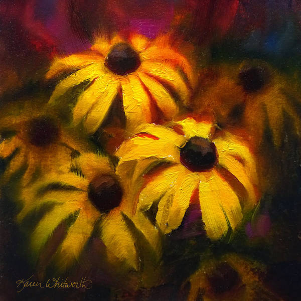 Painting - Black Eyed Susans - Vibrant Yellow Daisy Flowers Warm Colors Still Life Garden Decor by Karen Whitworth