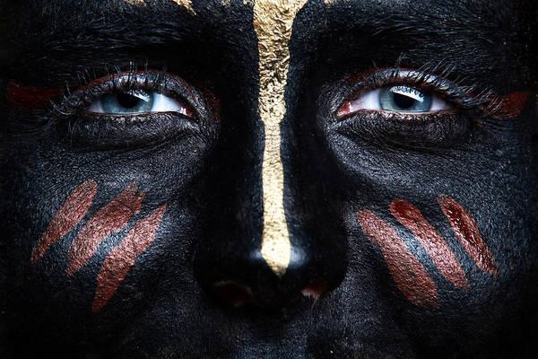 Bodypaint Wall Art - Photograph - Black Face Bodypaint by Rod Meier