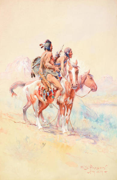 Wall Art - Painting - Black Feet Scouts by Edgar Samuel Paxson
