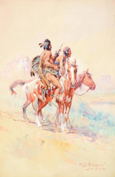 Turkey Feather Wall Art - Painting - Black Feet Scouts by Edgar Samuel Paxson