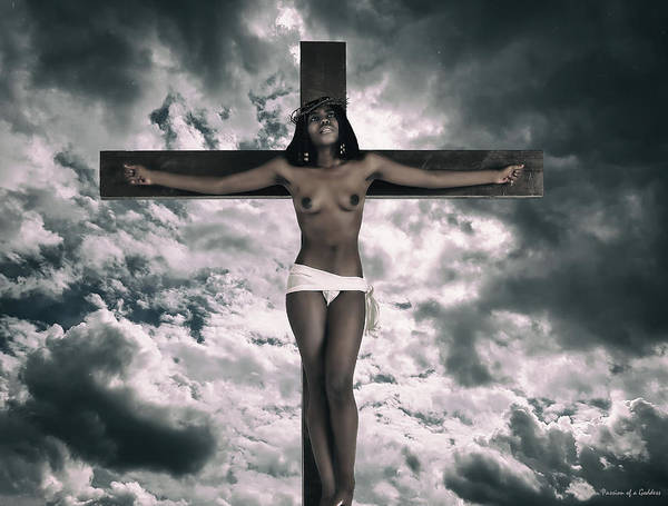 Wall Art - Photograph - Black Female Jesus On Cross by Ramon Martinez