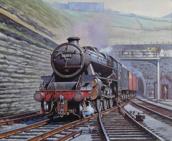 Tunnel Painting - Black Five On Goods. by Mike Jeffries